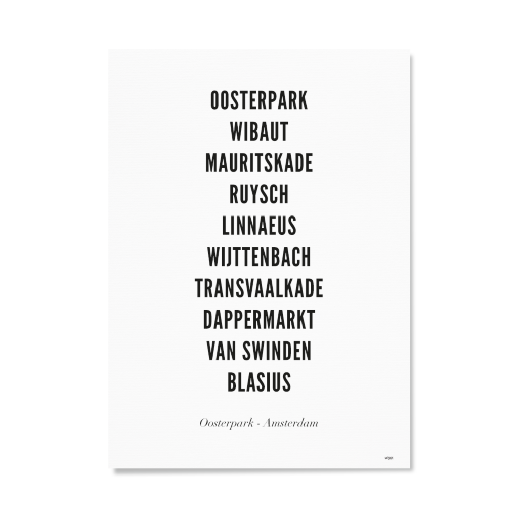 AmsterdamOosterparkTYPOGRAFIELIJSTPapier